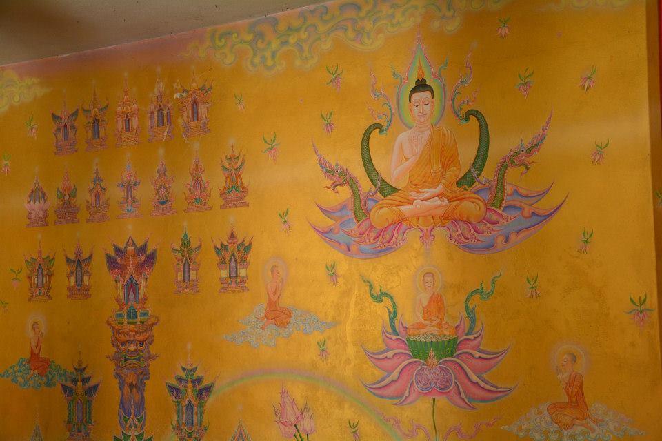 ภาพจิตรกรรมฝาผนัง เขียนโดยอาจารย์เฉลิมชัย โฆษิตพิพัฒน์ ภายในองค์พระเจดีย์บรรจุพระบรมสารีริกธาตุ ณ วัดหลักสี่